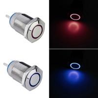 botão de 12 mm 12v venda por atacado-12 V Olho de Metal Olho LED Car iluminado Momentary 16mm Botão Interruptor Marca New