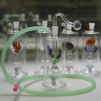 """Wholesale wholesale unique lighting - Bongs Unique Design Mini Glass Water Pipes Automatic Multicolor LED Light 5"""" inches Recycler Oil Rig with 20"""" Hose and Pot Bowl"""