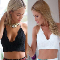 Wholesale Ladies Party Tops Shirts - Sexy Ladies Floral Lace Crop Top Hollow-Out Tank Tops Camisole Backless Party Club Short Blouse Shirt Black White Beach Tanks LJ014