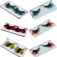 Wholesale Stage Eye Makeup - 40 Kinds Colorful Beauty Feather False Eyelashes Eyes Makeup Feather eyelashes for party red dots stage exaggeration