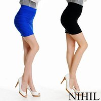 Wholesale Short Skirts Sexy Lycra - New 2015 Fashion High Waist Short Skirts Women's Sexy Black Polyester Slim skirt Ladies Plus Size Above Knee Mini Pencil Skirt