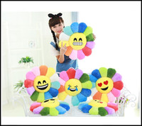 Wholesale Sunflower Cushions - Prettybaby emoji expression style sunflower dolls 9 models creative plush toys with helianthus petal emoji cushion bolster pillow Pt0095#