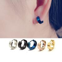 boucles d'oreilles bleues achat en gros de-Boucles d'oreilles en gros Mens Cool en acier inoxydable oreille Boucles d'oreilles Boucles d'oreilles Hoop Black Blue Gold Channel Earrings