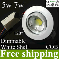 down lamp ceiling dimmable led 5w Canada - AC85-265v 5w 7w dimmable cob led ceiling lamp recessed down light lamp led downlights cut hole 70-78mm 120 beam angle UL CE ROHS