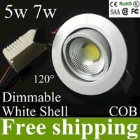 ángulo de haz de iluminación al por mayor-AC85-265v 5w 7w mazorca regulable lámpara empotrada en el techo lámpara de luz empotrada lámpara empotrable led downlights agujero 70-78mm 120 ángulo de haz UL CE ROHS