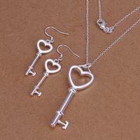 Wholesale Sterling Silver Key Earrings - High grade 925 sterling silver Heart-shaped key piece jewelry set DFMSS199 brand new Factory direct 925 silver necklace earring