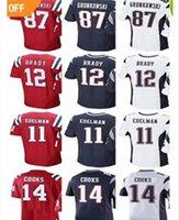 Wholesale Gronkowski Jersey Red - Men #12 Tom Brady 87 Rob Gronkowski jersey 11 Julian Edelman 14 Brandin Cooks jerseys Red Blue White Color Rush Limited