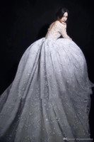 Wholesale Star Bead Caps - model pictures Middle East Pakistan Turkey long sleeves ball gown wedding dresses 2018 full embellished stars bateau neckline long train