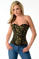 Wholesale Corset Top Patterns - 3 colors leopard pattern steel boned body shaping corset tops lace up back overbust corset bustier with front zipper for women