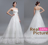 Wholesale Backless Strapless Sheath Wedding Dress - 100% REAL IMAGE Wedding Dresses Backless Beach Lace Bridal Gowns Sheath Strapless Appliques Beaded Vintage Garden Court Train Bridal Dress
