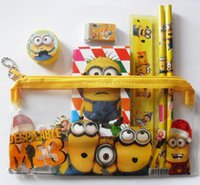 Wholesale Despicable Cases - 5 Sets of 7 in 1 Despicable Me The Minions Pencil Case set Girls Boys School stationery set Children Birthday Gift Favor