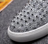 Wholesale Silver Hip Hop Shoes - Rivet Glitter Silver Skate Stud Hip Hop Fashion Black Shoes Men Elevator Dandelion Slip On Sneakers Hot Sale Autumn Popular