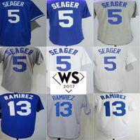 Wholesale Hanley Ramirez Baseball - 2017 WS Patch Mens Womens Kids Los Angeles 5 Corey Seager 13 Hanley Ramirez Jersey White Gray Blue Cheap Baseball Jerseys