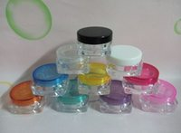 Wholesale Square Cream Cosmetic Jars - 5ML square transparent Mini plastic bottles  jars  containers with lids for cosmetic packaging,cream jar PZ9