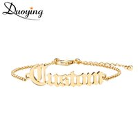 Wholesale dainty bracelets - wholesale  Adult Old English Cutting Name Bracelet Personalize Gold Bracelet Best Friend Dainty Jewelry for women Etsy fashion