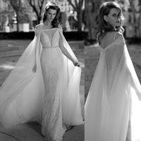 Wholesale Custom Cloaks Capes - 2016 berta Bridal Wraps Cloak Sparkle Bling Luxury Sequins Tulle Bateau Wedding Wraps Bridal Cape Exquisite Custom made 6611