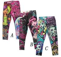 Wholesale Cartoon Girl Legging Tights - Monster High Girls Leggings Zombie Girl Cartoon Kids Legging Pants Clothing 6Y-16Y