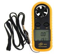 anemómetro de mano al por mayor-GM816 Bolsillo de mano LCD de 1,4 pulgadas 2 en 1 Bolsillo digital Anemómetro de mano Medidor de flujo de aire de velocidad del viento + Termometro de termómetro