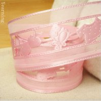 Wholesale Satin Faced Organza - zd032 Wholesale 38MM 2 Colors Single-face Satin Ribbon Fashion Strawberry Organza Fabric Tape Fit Gift Packaging Decorations