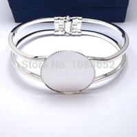 Wholesale Bracelet Making Blanks - Wholesale-Free shipping,25mm Cabochon Setting Cuff Bracelets Blank base for Jewelry Making, Tray Bezel Setting