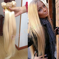 Wholesale Cheap Russian Extensions - cheap platinum blonde weave 100% unprocessed russian 613 blonde straight human hair extensions 8-30inch 3 bundles sale