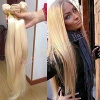 ingrosso vendita dei capelli umani biondi-economici biondo platino tessuto 100% non trasformati russo 613 biondi diritti estensioni dei capelli 8-30inch 3 pacchi vendita