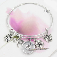 Wholesale Dragonfly Butterfly Jewelry - New Fashion Interchangeable Wire Bangles Spring Flower Insect Butterfly Dragonfly Ladybug Charms Snap Bracelets Wome Jewelry