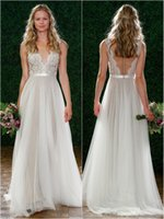 Wholesale Simply Dresses Black - 2017 Simply Cheap Wedding Dresses A-line Sexy Sheer Neck and Back Appliques Lace On Top Tulle Beach Wedding Dress