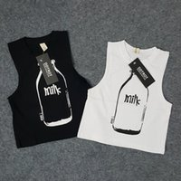 Wholesale Tank Tops Outfit Baby Boy - Kids clothing for boys and girls milk bottle printed vest cotton sleeveless t shirt 18m-4y children black white tank tops baby outfits 4pcs