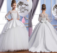 Wholesale Shirt Long Dress Girl - 2016 Pearls Lace Long Sleeves Tulle Arabic Flower Girl Dresses Vintage Child Pageant Dresses Beautiful Flower Girl Wedding Dresses F29