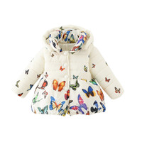 Wholesale baby winter overcoat online - cute baby kid parkas coat cartoon butterfly cotton hooded overcoat for M children boys girls animal Winter thick jacket hot