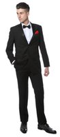 Wholesale Slim Tailcoat - Black Slim Fit Notch Lapel Tuxedos 2016 New Groomsmen Mens Wedding Prom Suits Custom Made (Jacket+Pants+Tie+Vest) Custom Made