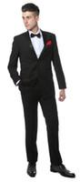terno de fraque preto venda por atacado-Preto Slim Fit Notch Lapela Smoking 2016 Novos Padrinhos de Casamento Dos Homens Ternos de Baile Custom Made (Jacket + Pants + Tie + Vest) Custom Made