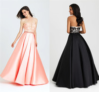 Wholesale Sweetheart Cut Bridesmaid Dresses - Cheap Bridesmaid Dresses Beach Low-Cut Black Satin Empire Floor Length Lace Sweetheart Neck Prom Dresses with Backless