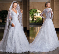 Wholesale plunging neck back line wedding dress resale online - 2020 Spring New Pure White Lace A Line Wedding Dresses Plunging Neckline See Through Back Long Sleeves Bridal Gowns Vestido De Noiva Manga