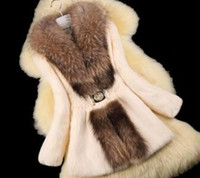 Wholesale Rabbit Fur Coat Outerwear - Autumn Ladies' Natural Rabbit Fur Coat Jacket Raccoon Fur Collar Winter Women Fur Trench Outerwear Coats Plus Size