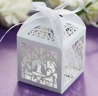 Wholesale Laser Cut Favor Boxes Bird - 100 Love Bird Laser Cut Wedding Bomboniere Chocolate Candy Gift Box with Ribbon