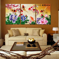 Wholesale Wild Flowers Oil Painting - 3 Pieces no frame free shipping Canvas Print fish peony Plum Abstract flower tree Coffee rose waterfall mountain wild Bridge cloud grassland