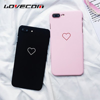 Wholesale Iphone Couple Cover - Love Heart Painted Phone Case For iphone 6 6S 6Plus 7 8 8plus Fashion Couples Back Cover Ultra Thin Matte Hard PC Coque