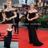 cannes siyah elbise toptan satış-Scarlett Johansson Cannes Kırmızı Halı Ünlü Abiye Moda Kadınlar Için Sofistike Siyah Şifon Mermaid Parti Abiye