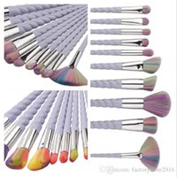 Wholesale Eye Drop Plastic - 10Pcs Hot Makeup Brushes Set Professional Powder Foundation Eyeshadow Lip Eye Liner Cosmetic Brush Kit Maquillaje Shaving Drop Shipping