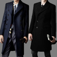 Wholesale Mens Wool Clothing - Fall-New Brand bakham Long trench coat wool coat Winter peacoat 2015 Men's Dust Coat mens clothing overcoat men's coats # A4423