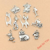 Vente en gros-10pc Mixed Tibetan Silver Plated Animaux Poissons Love Love My Cat Charms Pendentifs Bijoux Fabrication Diy Artisanat fait main m014