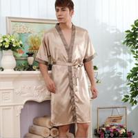 pyjamahemd männer großhandel-Großhandels-Männer Roben Männer Schlaf Lounge Männer Pyjama Männer Seide Satin Pyjama Nachtwäsche Shirt Schlaf Nacht Kleid