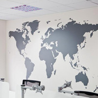 Wholesale wall stickers map world - 2016 Wholesales Black Large World Map Wall Sticker Removable Double Sided Visual Pattern Home Decoration House Wallpaper free shipping