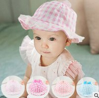 Wholesale Newborn Shopping - 2015 free shopping New Hot Sale Fashion Lovely Lace Bowknot Summer Unisex Children's Baby Sun Hat Cap TY1237