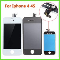 Wholesale Touch Screen Cell Phone Parts - For Apple IPhone 4 LCD Cell Phone Parts White Iphone 4S LCD Digitizer Assembly Screen Touch Panels White Black Color