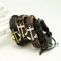Wholesale Christmas Coffee Wholesale - Vintage Braided Anchor Leather Bracelets Fashion Women Men's Handmade Black Coffee Bracelet bangles Couple Christmas Gifts free shipping