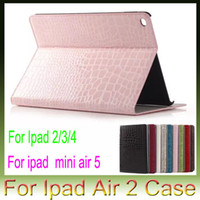 Wholesale Crocodile Case Ipad Mini - For Apple iPad air2 air 2 5 iPad 2 3 4 iPad Mini4 Mini 4 Croco Crocodile Snake Leather case stand holster