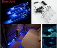 araba mavi dekorasyon toptan satış-4 in 1 12 V Araba Oto İç Atmosfer Işıklar Dekorasyon Lamba Açık Mavi